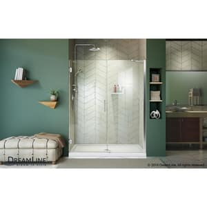 DreamLine Unidoor 61 in. Frameless Hinged Shower Door with Clear Glass in Polished Chrome DSHDR2060721001