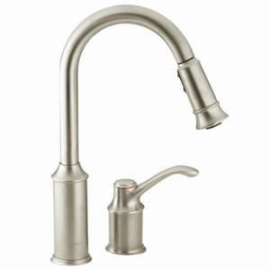 Moen Aberdeen™ 1.5 gpm 2 Hole Deck Mount Kitchen Faucet with Single Lever Handle and Spray in Classic Stainless M7590CSL