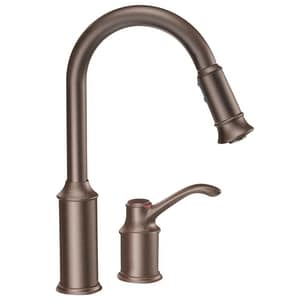 Moen Aberdeen Single Handle Pull Down Kitchen Faucet With Power Clean And Reflex Technology In Oil Rubbed Bronze 7590orb Ferguson