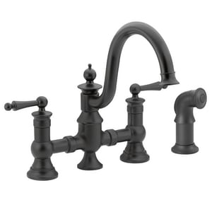 Moen Waterhill™ 3-Hole High Arc Kitchen Sink Faucet with Sidespray and Double Lever Handle in Wrought Iron MS713WR