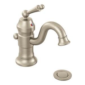 Moen Waterhill™ Single Handle Monoblock Bathroom Sink Faucet in Brushed Nickel MS411BN