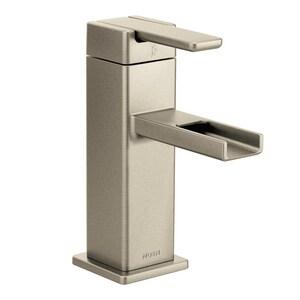 Moen 90 Degree™ Single Handle Monoblock Bathroom Sink Faucet in Brushed Nickel MS6705BN