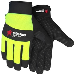 Memphis Glove S Size Neoprene, Plastic, Silicone, Spandex and Synthetic Leather Multi-Task Gloves in Black and Hi-Viz Lime M926S