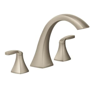 Moen Voss™ 3-Hole Double Lever Handle Roman Tub Faucet in Brushed Nickel MT693BN