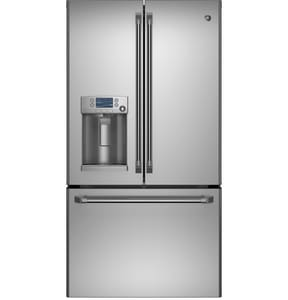 General Electric Appliances Cafe™ 35-3/4 in. 27.8 cf French Door Refrigerator with Disposer in Stainless Steel GCFE28TSHSS