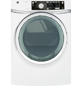 General Electric Appliances 28 in. 8.1 cf 120/240V 12-Cycle Electric Steam Front Load Dryer in White GGFDS260EFWW