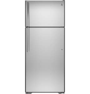GE Appliances 28 in. wide 17.5 cf Freestanding Topmount Refrigerator in Stainless Steel GGTE18GSHSS