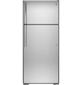 GE Appliances 28 in. wide 17.5 cf Freestanding Refrigerator with Top Freezer in Stainless Steel GGIE18GSHSS