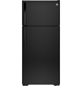 GE Appliances 28 in. 15.5 cf Freestanding Topmount Refrigerator Reversible in Black GGTE16DTHBB
