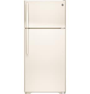 GE Appliances 28 in. 15.5 cf Freestanding Topmount Refrigerator Reversible in Bisque GGTE16DTHCC