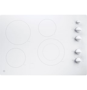 General Electric Appliances 29-3/4 in. Built-In Knob Control Electric Cooktop in White on White GJP3530TJWW