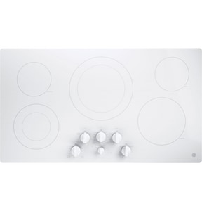 General Electric Appliances 36 in. Built-In Knob Control Electric Cooktop in White on White GJP3536TJWW