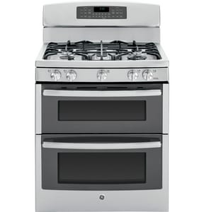 General Electric Appliances Profile™ 30 in. 6.8 cf 5-Burner Natural Gas Freestanding Convection Range in Stainless Steel and Grey GPGB950SEFSS
