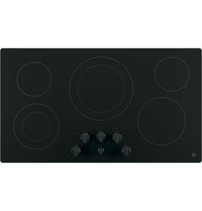 General Electric Appliances 36 in. Built-In Knob Control Electric Cooktop in Black on Black GJP3536DJBB