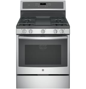 General Electric Appliances 30 in. 18000 BTU 5-Burner Freestanding Gas Convection Range in Stainless Steel and Grey GPGB911SEJSS