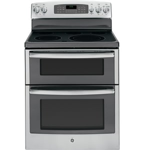General Electric Appliances 29-7/8 in. 6.6 cf 5-Burner Electric with Double Oven Freestanding Range in Stainless Steel GJB850SFSS
