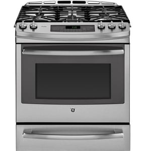 General Electric Appliances Profile™ 30 in. 5.6 cf 5-Burner Natural Gas Slide-In Convection Range in Stainless Steel GPGS920SEFSS