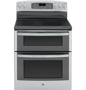 General Electric Appliances 29-7/8 in. 6.6 cf 5-Radiant Burner Freestanding Electric Convection Range in Stainless Steel and Grey GJB870SFSS