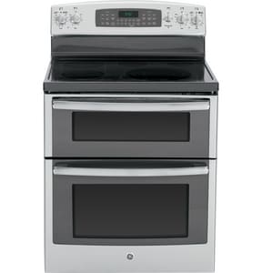 General Electric Appliances Profile™ 29-7/8 in. 6.6 cf 5-Smooth Top Burner Freestanding Electric Convection Range in Stainless Steel and Grey GPB950SFSS