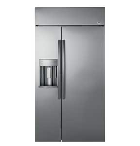 General Electric Appliances Profile™ 42 in. Built-In Side-by-Side Refrigerator with Dispenser in Stainless Steel GPSB42YSKSS