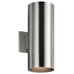 Kichler Lighting Cylinder 120W 2-Light Medium E-26 Incandescent Outdoor Wall Sconce in Brushed Aluminum KK9246BA