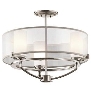 Kichler Lighting Saldana 50W 3-Light Bi-Pin Halogen Ceiling Light in Classic Pewter KK42923CLP