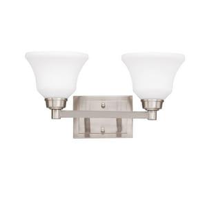 Kichler Lighting Langford 100 W 2-Light Medium Bracket Etched Glass in Brushed Nickel KK5389NI