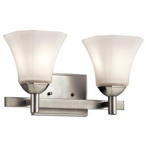Kichler Lighting Serina 14-1/2 x 8 in. 200W 2-Light Medium E-26 CFL Vanity Fixture with Etched Glass KK45732
