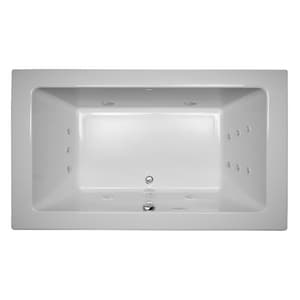 JACUZZI® Sia® 72 x 42 in. 13-Jet Acrylic Rectangle Drop-In or Undermount Spa Combination Bathtub with Center Drain and J5 LCD Control in White JSIA7242CCR5CWW