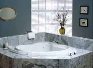 JACUZZI® Bellavista™ 59-3/4 x 59-3/4 in. 10-Jet Acrylic Corner Drop-In Whirlpool Bathtub with Right Drain and J4 Luxury Control in Oyster JBEL6060WCR4CHY