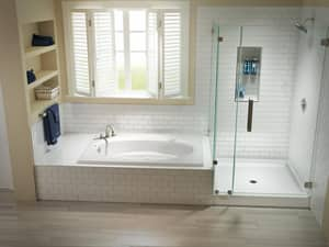 JACUZZI® Cayman® 48 x 48 in. Neo Angle Shower Base with Center Drain JCAY4848SNXXXX