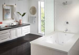 JACUZZI® Elara® 60 x 42 in. Whirlpool Drop-In Bathtub with End Drain in Oyster JELA6042CRL5CHYC