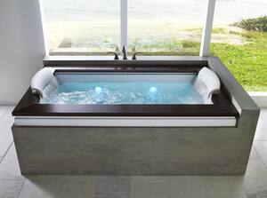 JACUZZI® Fuzion® 72 x 42 in. Whirlpool Drop-In Bathtub with Center Drain in Black JFUZ7242CCR5CWB