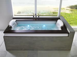JACUZZI® Fuzion® 72 x 42 in. 11-Jet Acrylic Rectangle Drop-In or Undermount Spa Combination Bathtub with Center Drain and J4 Luxury Control in White JFUZ7242CCR4IHW