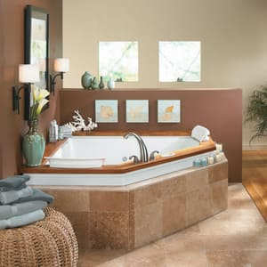 JACUZZI® Fuzion® 65-3/4 x 65-3/4 in. Whirlpool Drop-In Bathtub with Center Drain in Oyster JFUZ6666WCR5IWY