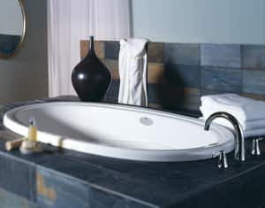 JACUZZI® Riva® 62 x 43 in. Acrylic Oval Drop-In or Undermount Whirlpool Bathtub with Left Drain and J2 Basic Control in Oyster JRIV6243WLR2HXY