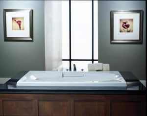 JACUZZI® Nova™ 60 x 36 in. Acrylic Rectangle Skirted Air Bathtub with Left Drain and J2 Basic Control in Black JNOV6036ALR2XXB