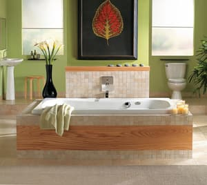 Jacuzzi Signa® 60 x 42 in. Acrylic Rectangle Drop-In or Skirted Whirlpool Bathtub with Center Drain and J2 Basic Control JSIG6042WCR2XX