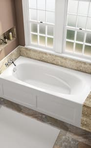 JACUZZI® Signature™ 72 x 36 in. 6-Jet Acrylic Rectangle Skirted Whirlpool Bathtub with Right Drain and Manual On or Off in Oyster JJ1A7236WRL1HXY