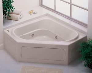 JACUZZI® Capella® 55 x 55 in. 8-Jet Acrylic Corner Skirted Whirlpool Bathtub with Center Drain and J2 Basic Control in Oyster JCPS5555WCR2HXY
