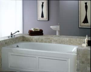 JACUZZI® Amiga® 21 x 72 x 36 in. 78 gal Oval in Rectangular Drop-In and Skirted Whirlpool with Left Drain in White JAMS7236WLR2HXW