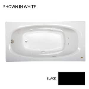JACUZZI® Amiga® 72 x 36 in. 8-Jet Acrylic Oval in Rectangle Drop-In or Skirted Whirlpool Bathtub with Left Drain and J2 Basic Control in Black JAMI7236WLR2HXB