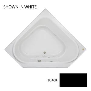 JACUZZI® Capella® 60 x 60 in. 8-Jet Acrylic Corner Drop-In or Skirted Whirlpool Bathtub with Center Drain and J2 Basic Control in Black JCAP6060WCL2HXB