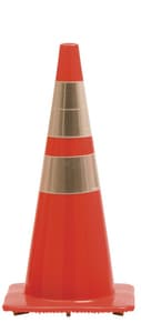 Work Area Protection Corporation 36 in. Standard Traffic Cone with Reflective Collars 10 lb W36PVCS6CC4CCVSB at Pollardwater