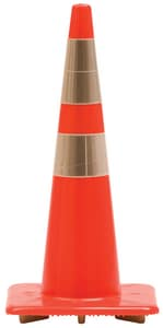 Work Area Protection Corporation Trimline 28 in. 5 lb. Traffic Cone with Reflective Collar in Fluorescent Orange W28PVCTL6CC4CC3M