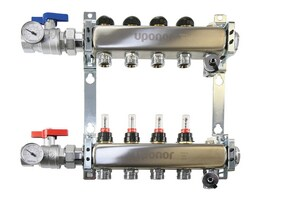 Uponor 2 Loop 1 in. Stainless Steel Manifold Assembly with Flow Meter UA2700202