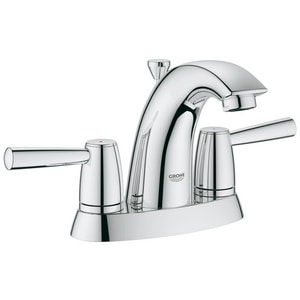 GROHE® Arden™ 5-3/8 in. 3-Hole Deckmount Centerset Bathroom Faucet with Double Lever Handle in Starlight Polished Chrome G2038800A