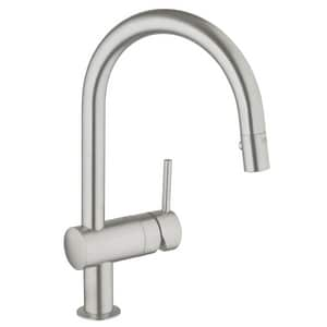 GROHE Minta Single Handle Pull Down Kitchen Faucet in SuperSteel Infinity™ G31378DC0
