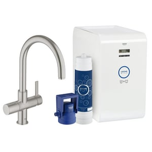 GROHE® Blue® Two Handle Lever Handle Water Filter Faucet in SuperSteel Infinity G31251DC1