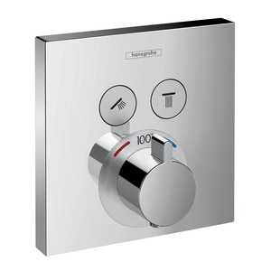 Hansgrohe ShowerSelect 2 gpm Function Square Thermostatic Shower Trim in Polished Chrome H15763